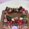 Chocolate Bomb Red Berries Square Cake